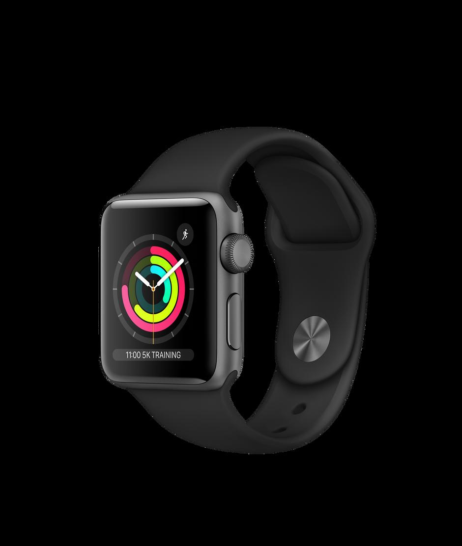 03b3c7a88 Apple Watch Series 3 GPS, 38mm Space Grey Aluminium Case with Black ...