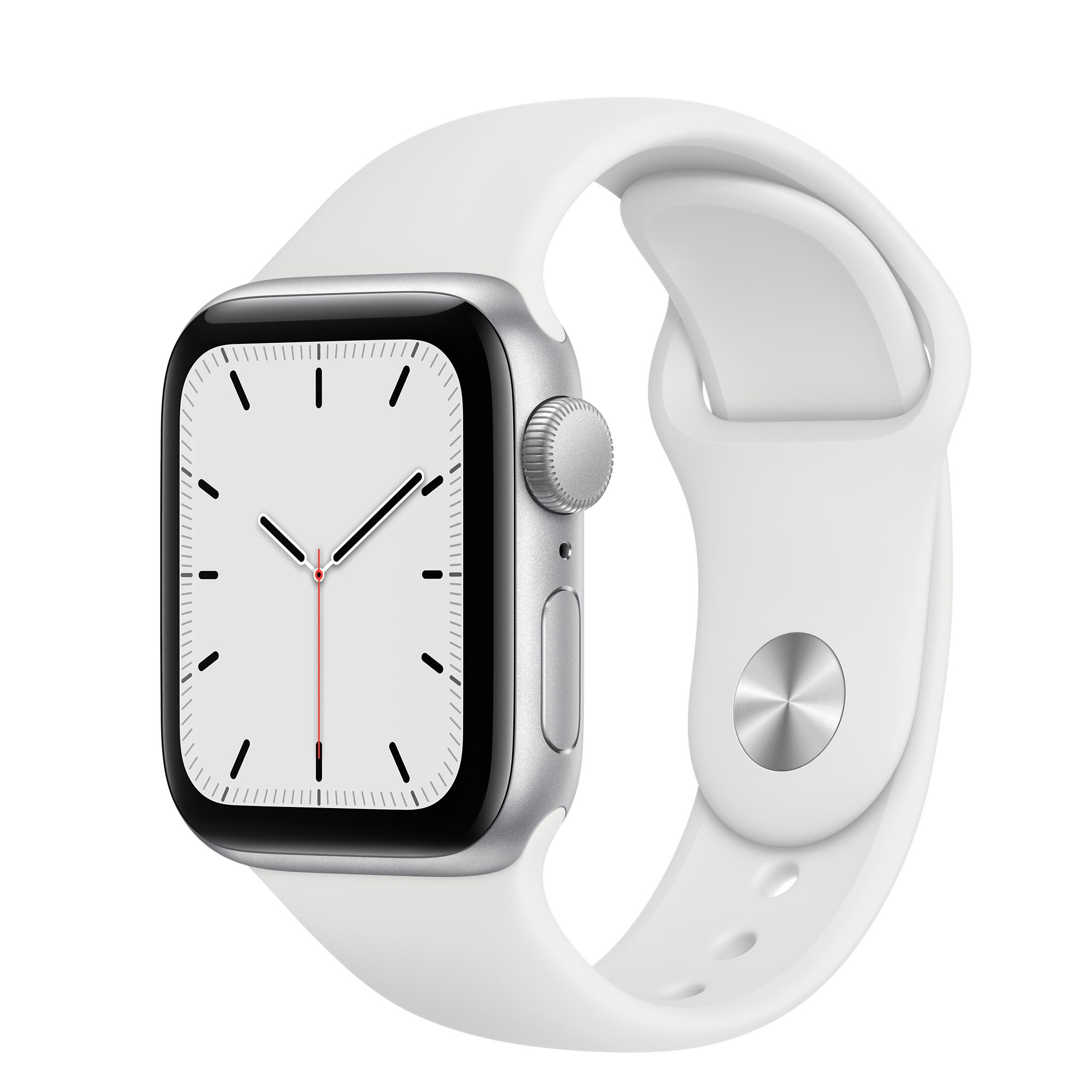 Apple Watch SE GPS, Caixa em alumínio prateado de 40 mm com Bracelete  desportiva branca - Standard - Apple (PT)