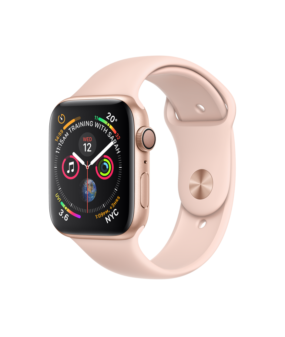 newest 8ac15 96a64 Apple Watch Series 4 GPS, 44mm Gold Aluminum Case with Pink Sand Sport Band