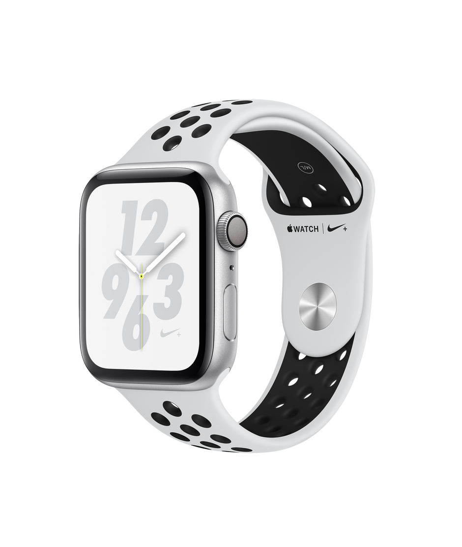Apple Watch Nike+ Series 4 GPS, 44 mm Aluminiumgehäuse, Silber, mit Nike  Sportarmband, Pure Platinum/Schwarz