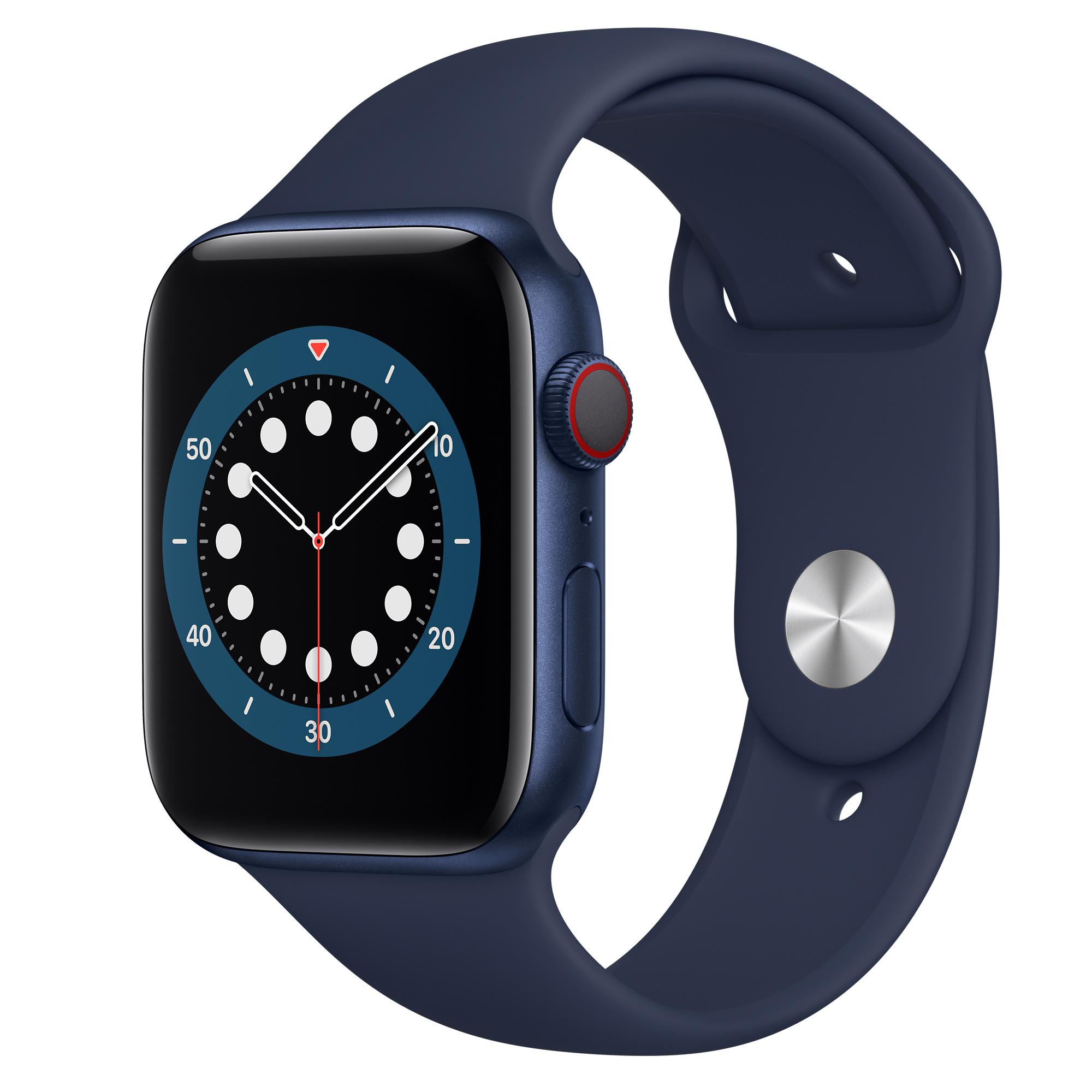 Apple Watch Series 6 GPS + Cellular, Caixa em alumínio azul de 44 mm com  Bracelete desportiva azul‑profundo - Standard - Apple (PT)