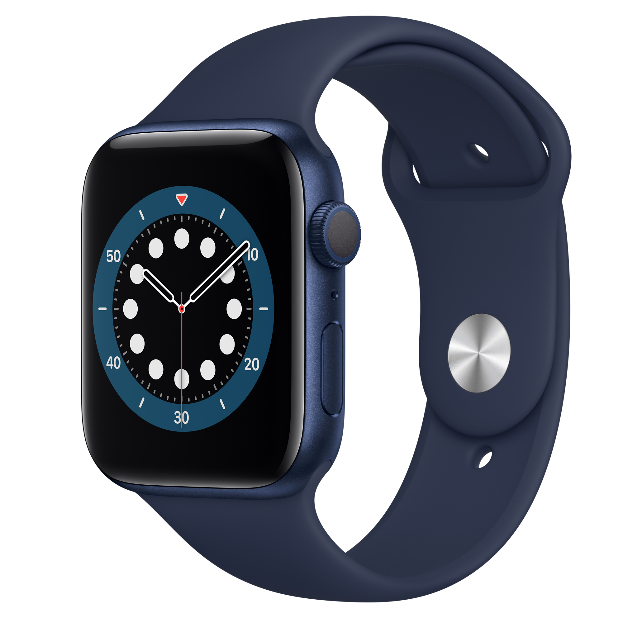 Apple Watch Series 6 GPS, 44mm Blue Aluminum Case with Deep Navy Sport Band  - Regular - Apple (AE)