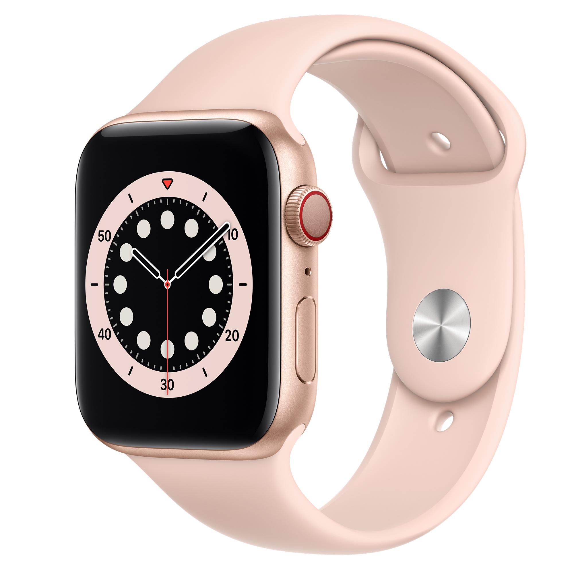 Apple Watch Series 6 Gps Cellular 44mm Gold Aluminium Case With Pink Sand Sport Band Regular Apple Uk