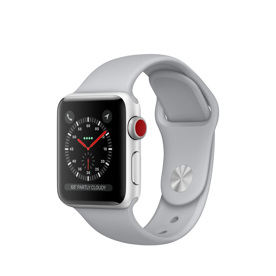 best sneakers 39814 109d3 Refurbished Apple Watch Series 3 GPS + Cellular, 38mm Silver Aluminium Case  with Fog Sport Band