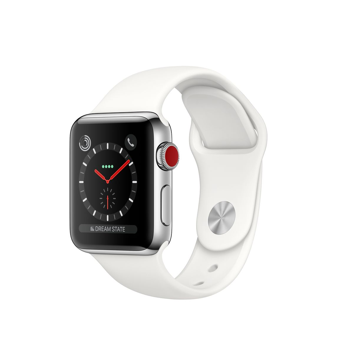 Refurbished Apple Watch Series 3 GPS + Cellular, 38mm Stainless Steel Case with Soft White Sport Band