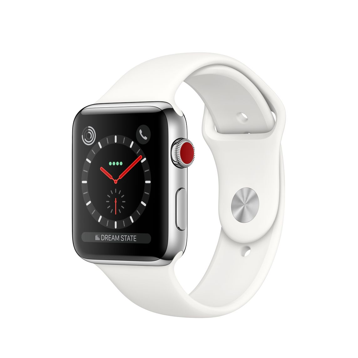 9aa7b4eecd1 Refurbished Apple Watch Series 3 GPS + Cellular, 42mm Stainless Steel Case  with Soft White Sport Band - Apple (UK)
