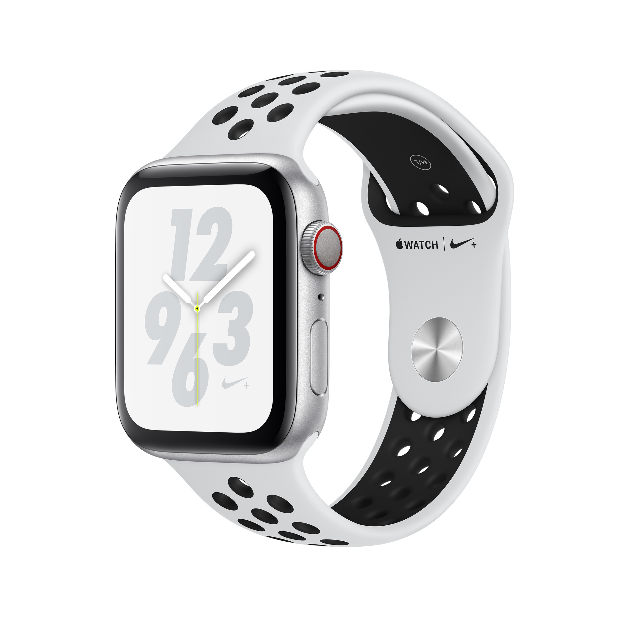 Refurbished Apple Watch Nike+ Series 4 GPS + Cellular, 44mm Silver Aluminium Case with Pure PlatinumBlack Nike Sport Band