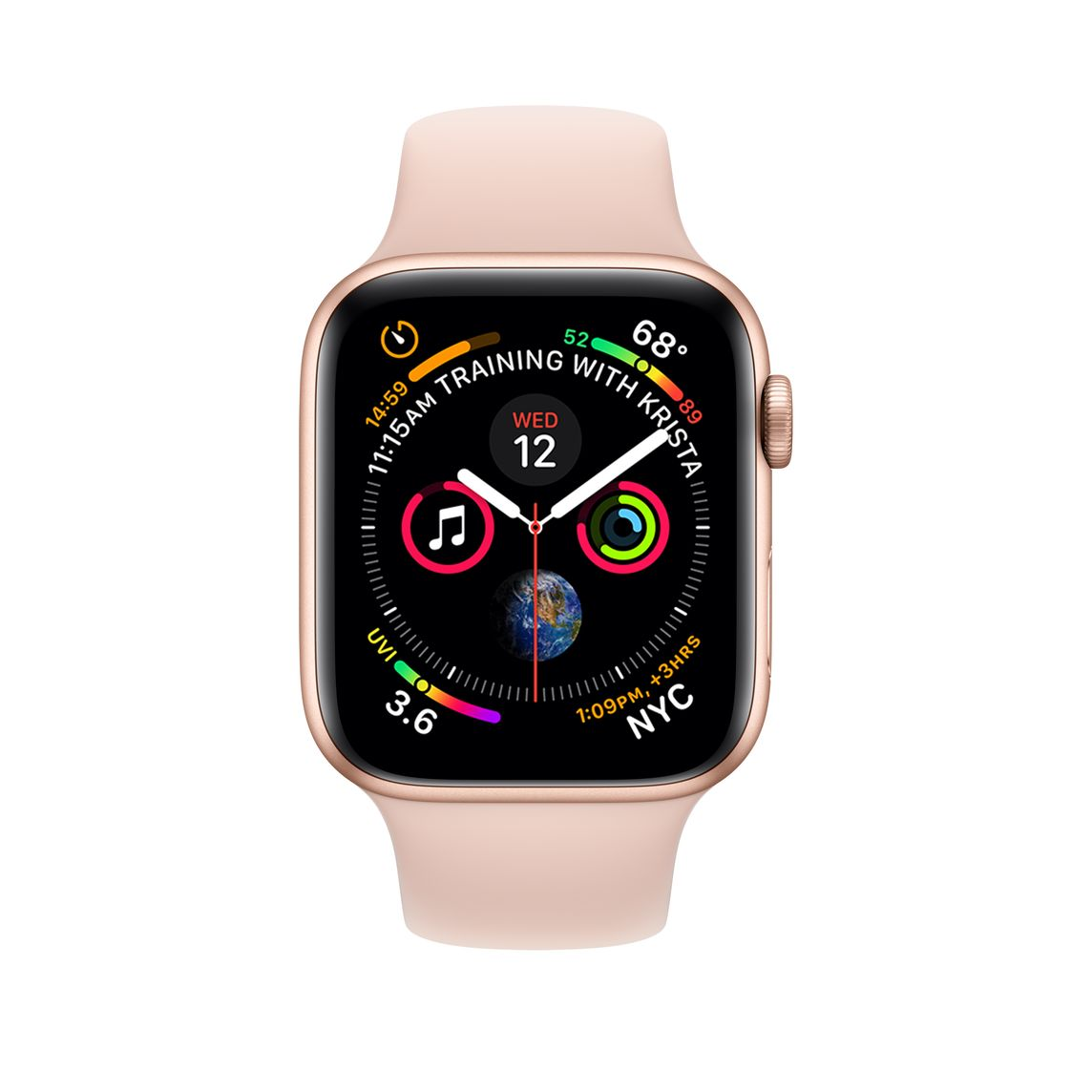 Refurbished Apple Watch Series 4 Gps 40mm Gold Aluminium Case With Pink Sand Sport Band Apple Uk