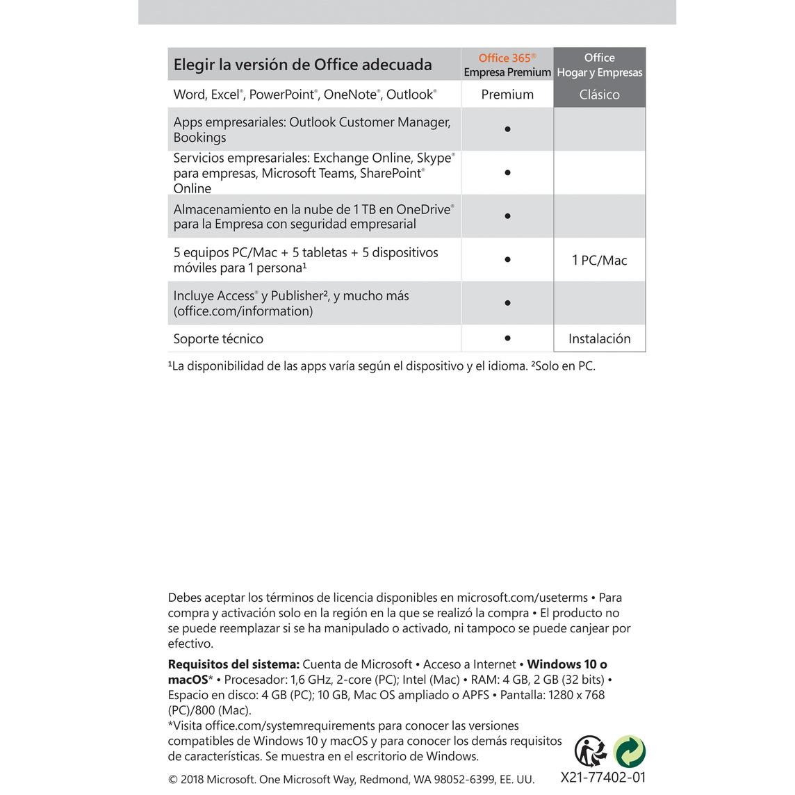 Microsoft Office Hogar y Empresas 2019 (1 Mac)