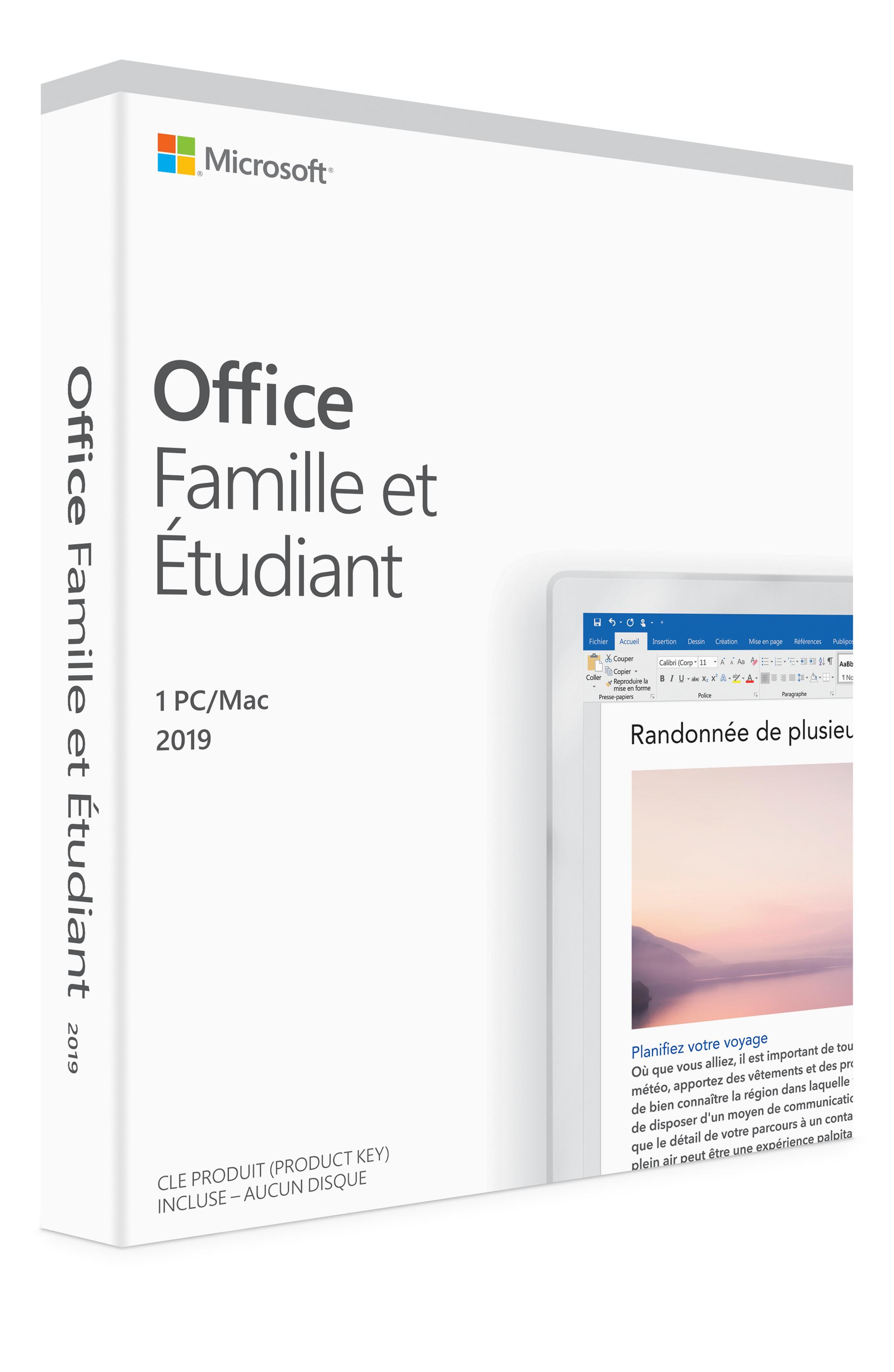 Microsoft Office Famille Et étudiant 2019 1 Mac Français