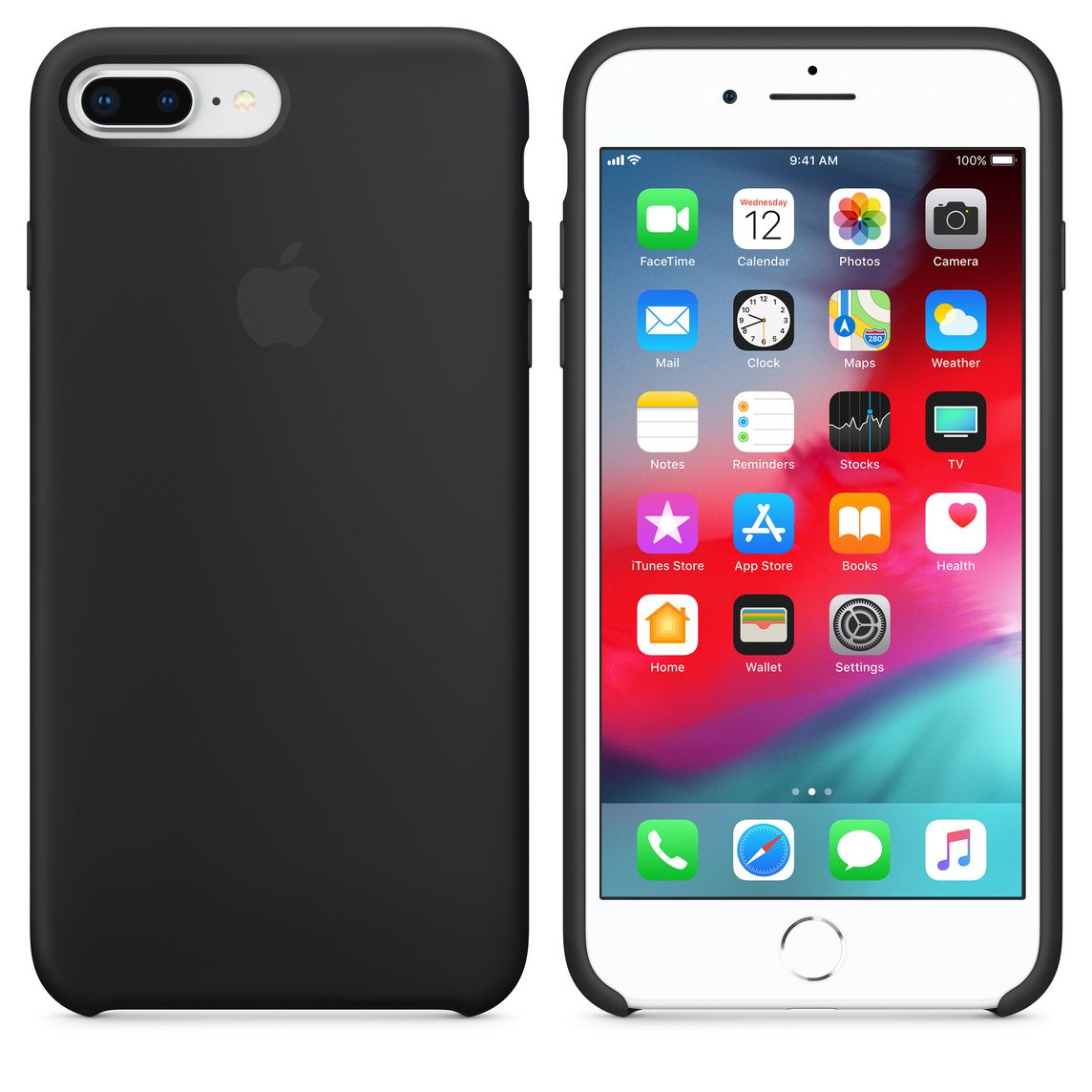 Coque en silicone pour iPhone 8 Plus / 7 Plus - Noir