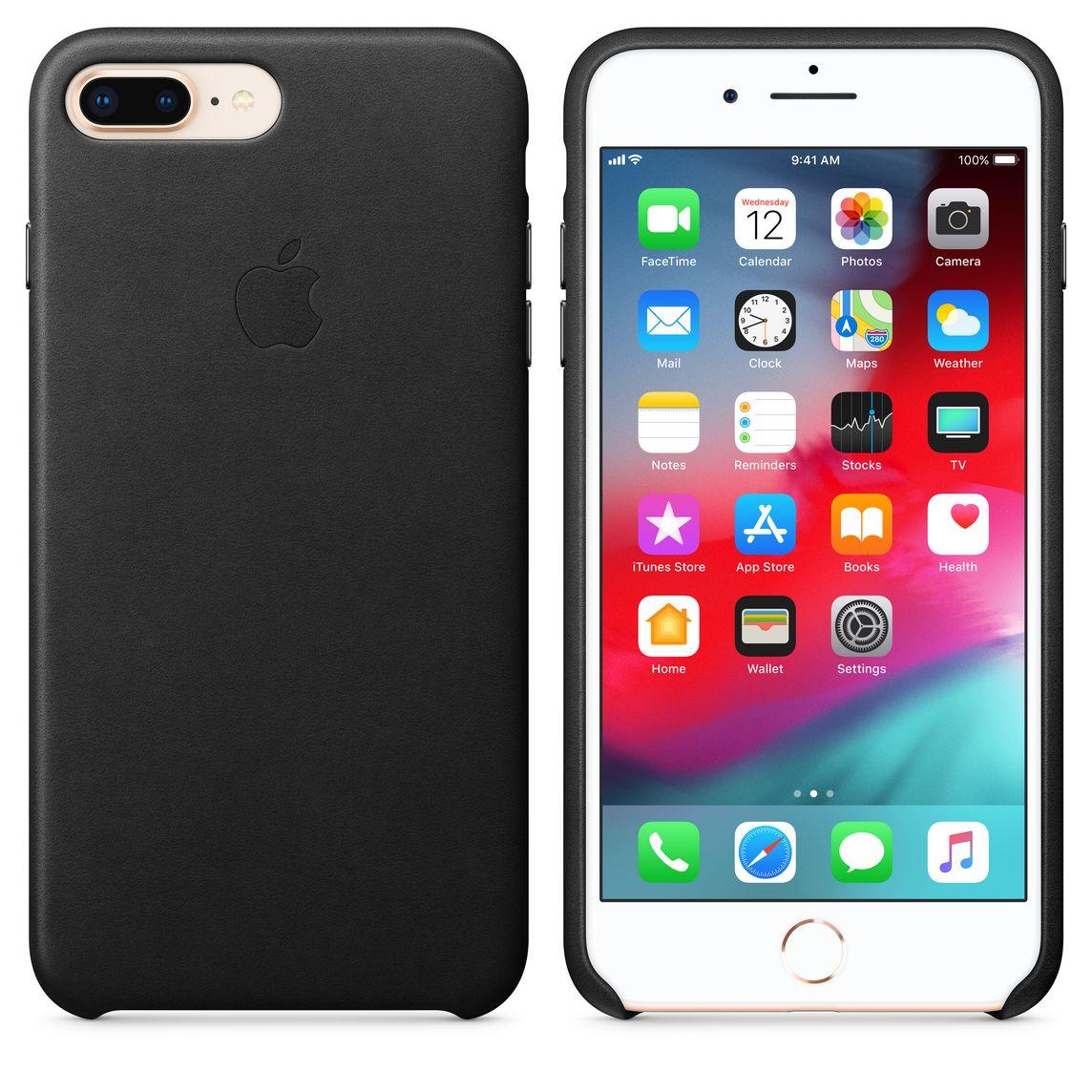 Coque en cuir pour iPhone 8 Plus / 7 Plus - Noir