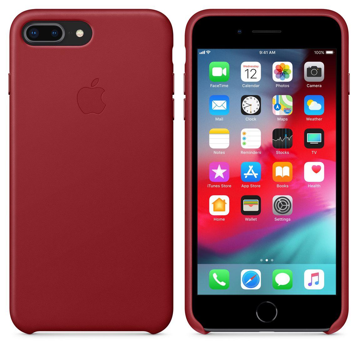 coque iphone 8 plus cuir rouge apple