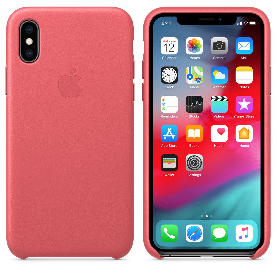 coque iphone xs cuir rose