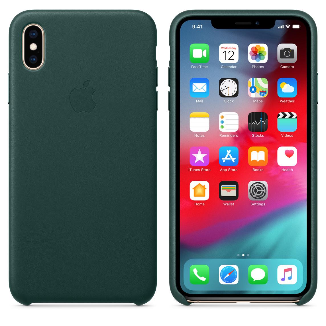Læder etui til iPhone XS Max – skovgrøn