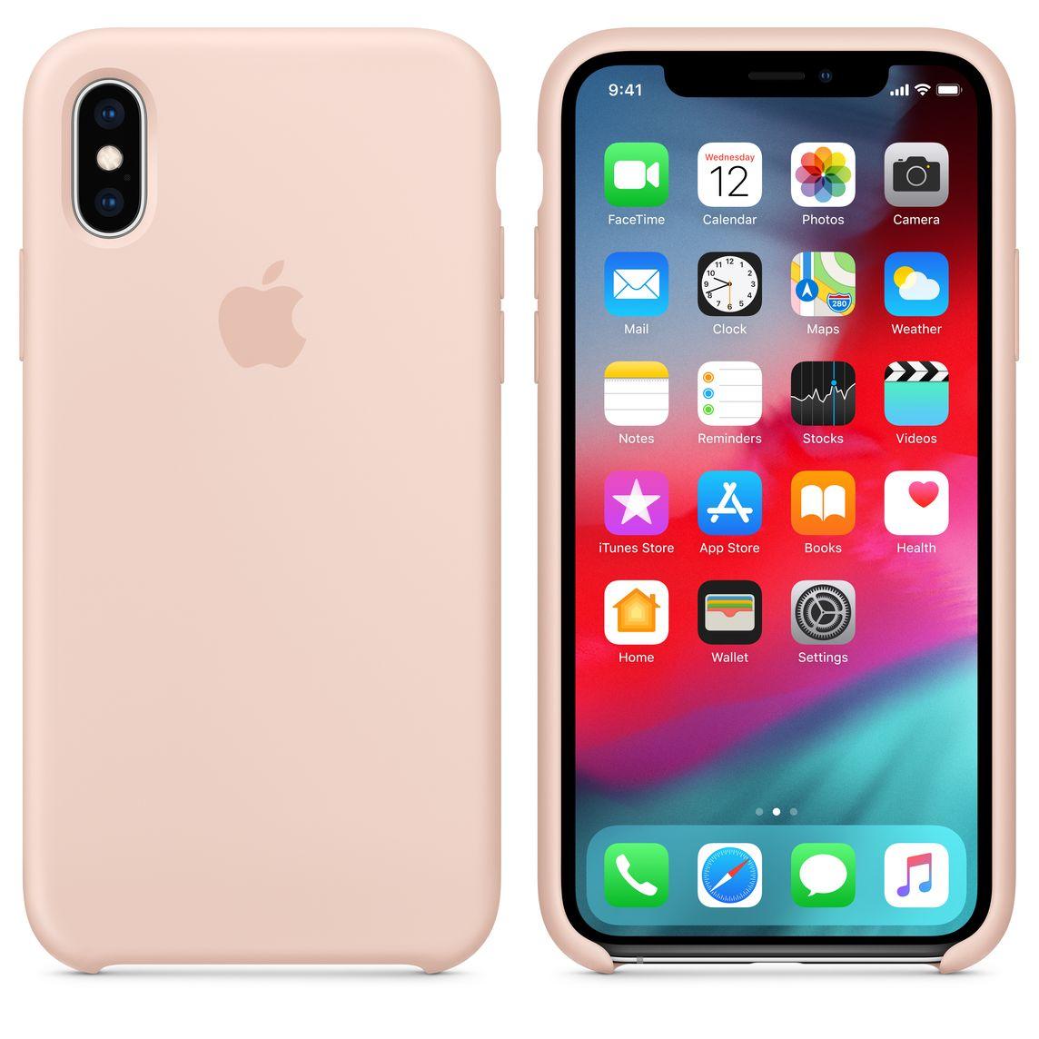 Custodia in silicone per iPhone XS - Rosa sabbia