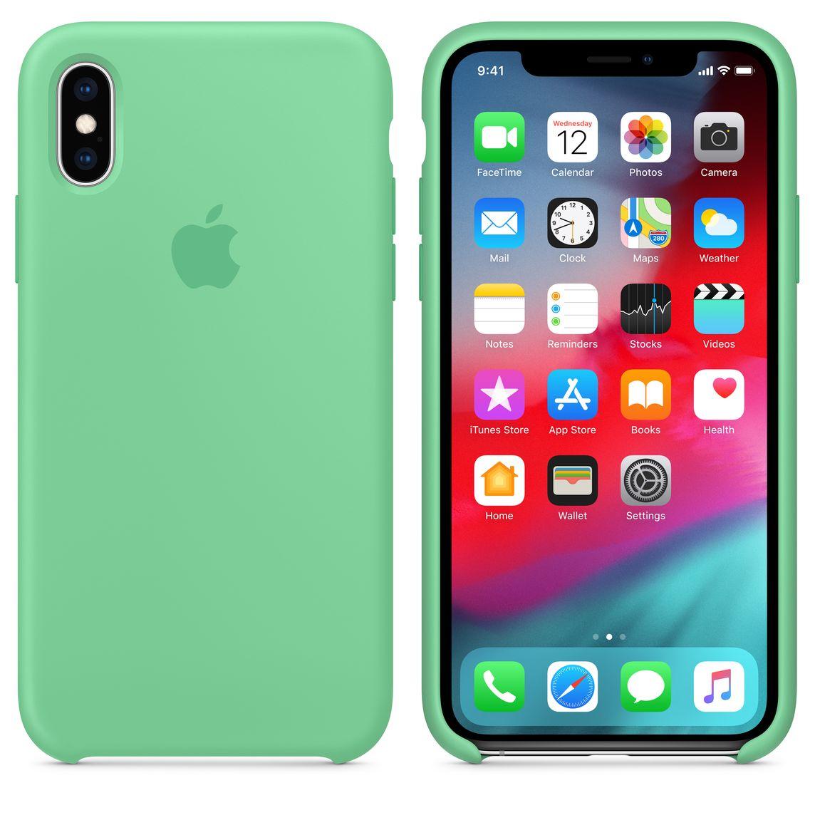 Custodia in silicone per iPhone XS - Verde menta