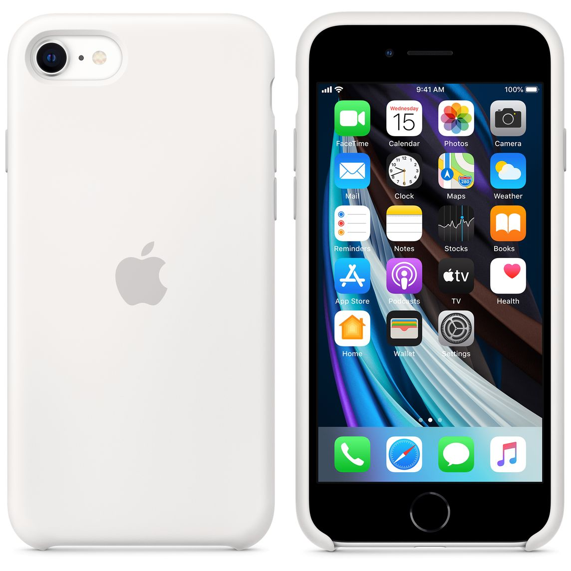 Custodia in silicone per iPhone SE - Bianco