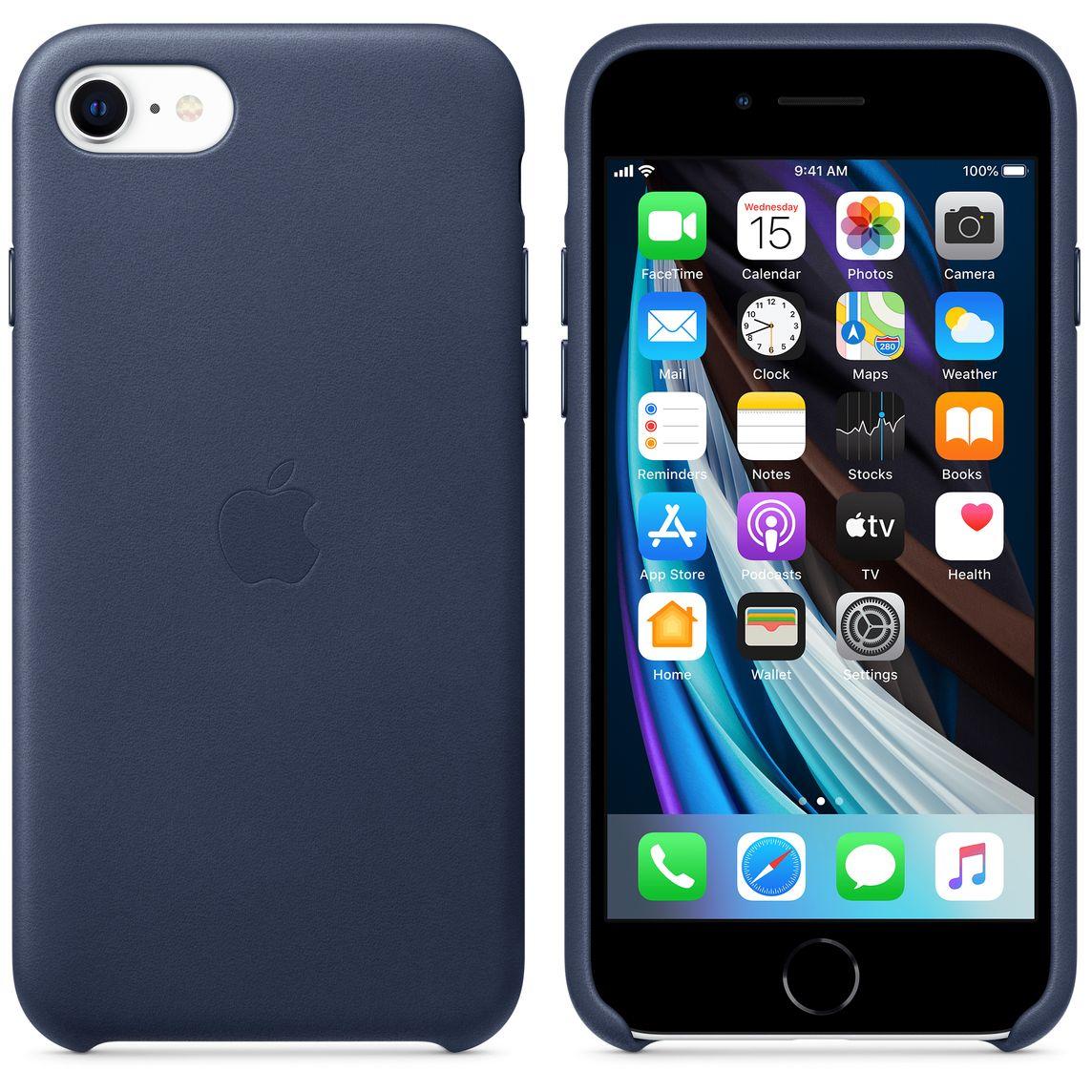 Coque en cuir pour iPhone SE - Bleu nuit
