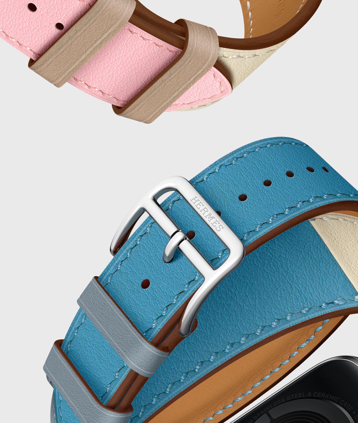 8840fd5babf Apple Watch Hermès Double Tour-rem i Swift-læder i farven Rose  Sakura/Craie/Argile