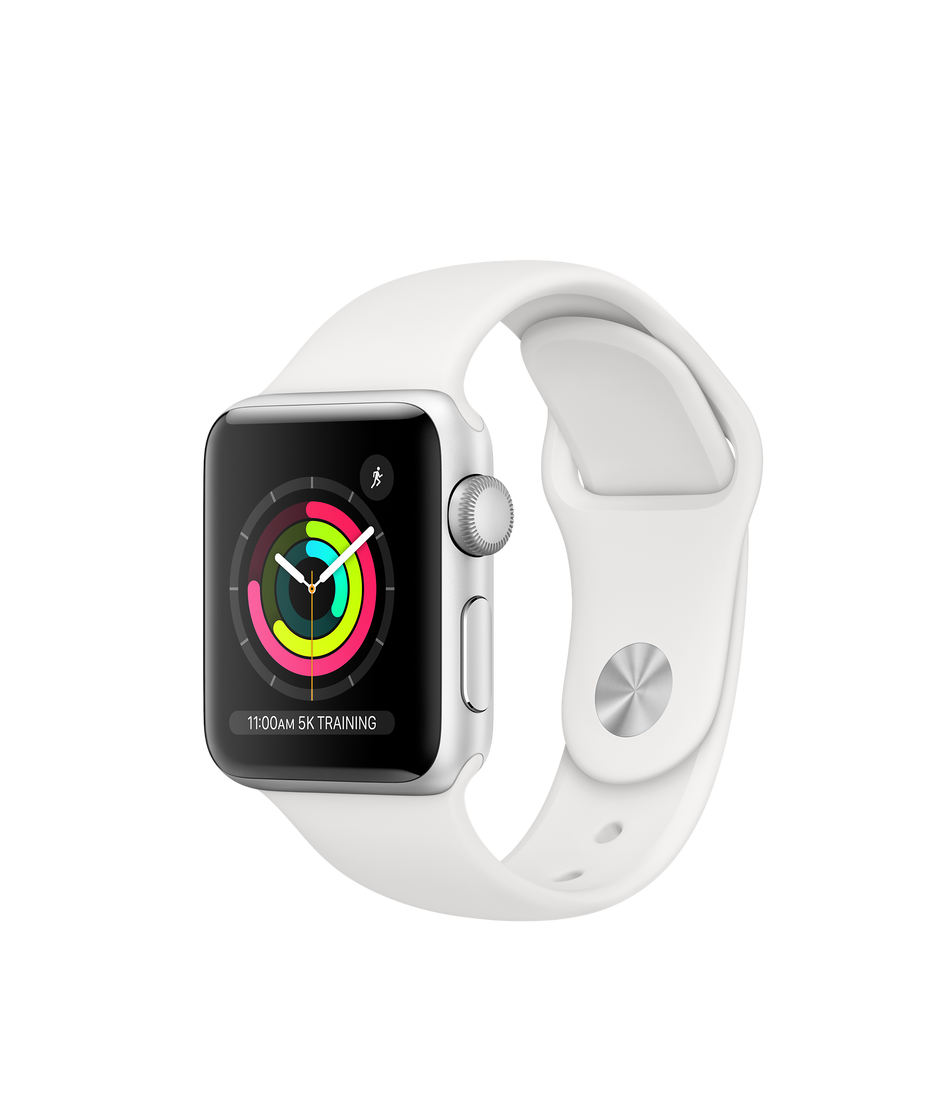 cheap for discount 0652d 34b5e Apple Watch Series 3 GPS, 38mm Silver Aluminum Case with White Sport Band