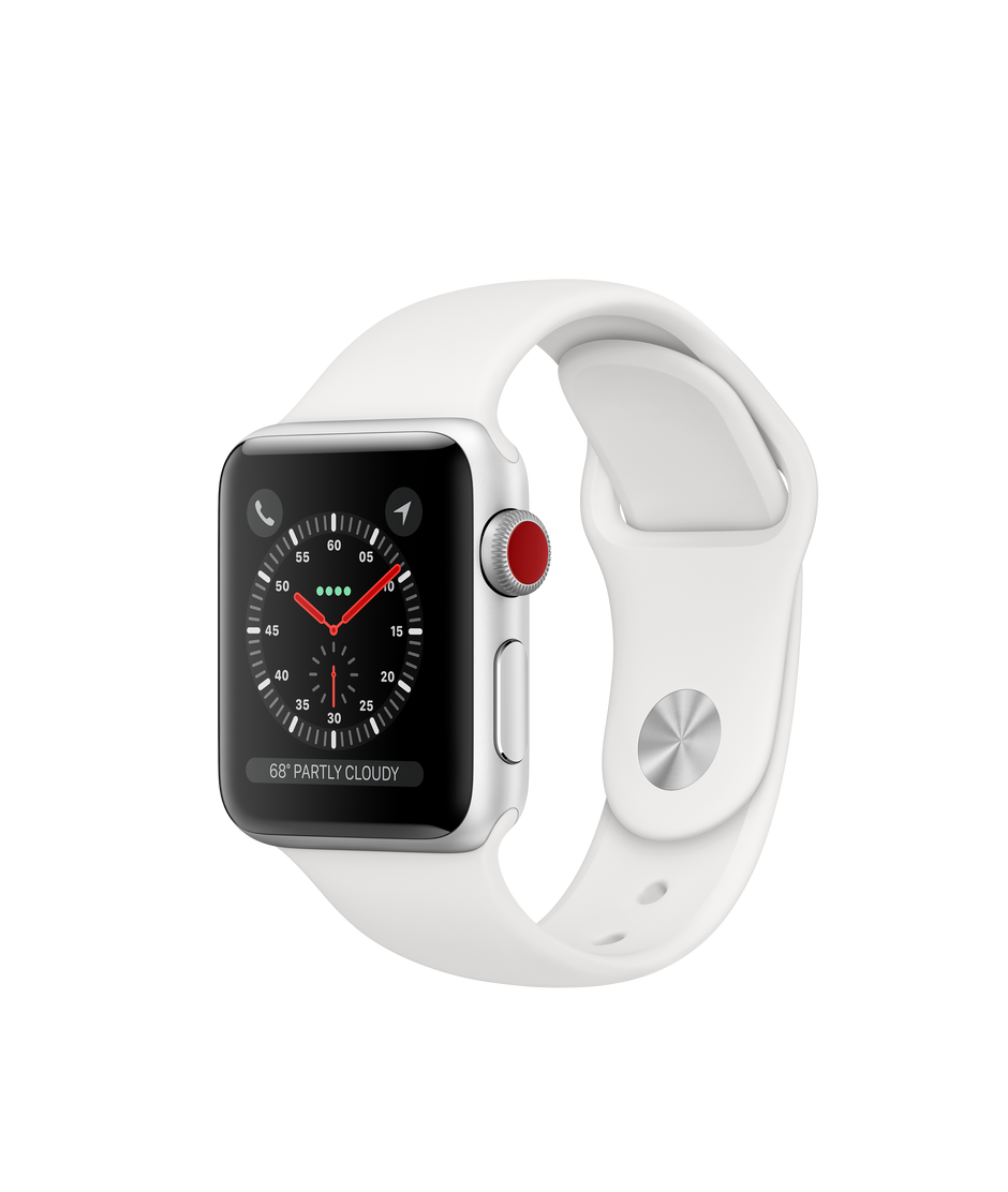 top fashion c8905 fff55 Apple Watch Series 3 GPS + Cellular, 38mm Silver Aluminum Case with White  Sport Band