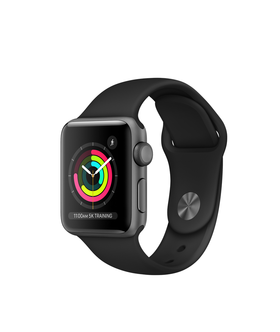 new styles 43b98 768dd Apple Watch Series 3 GPS, 38mm Space Gray Aluminum Case with Black Sport  Band