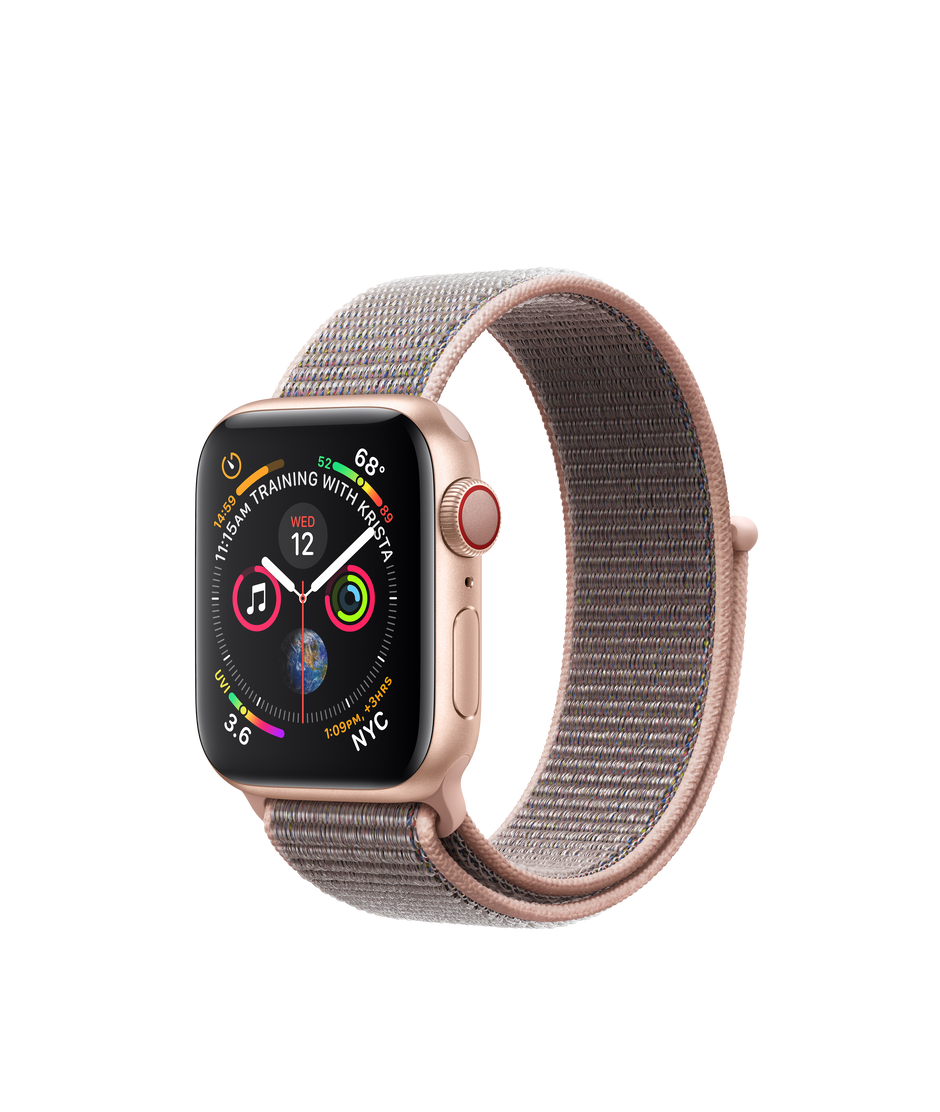 new arrival 06cc5 6e315 Apple Watch Series 4 GPS + Cellular, 40mm Gold Aluminum Case with Pink Sand  Sport Loop