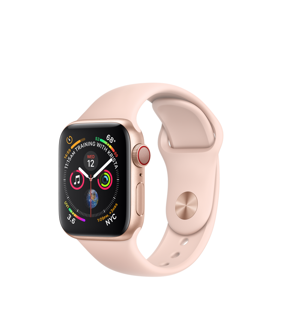 hot sales ed0ec c0a61 Apple Watch Series 4 GPS + Cellular, 40mm Gold Aluminum Case with Pink Sand  Sport Band
