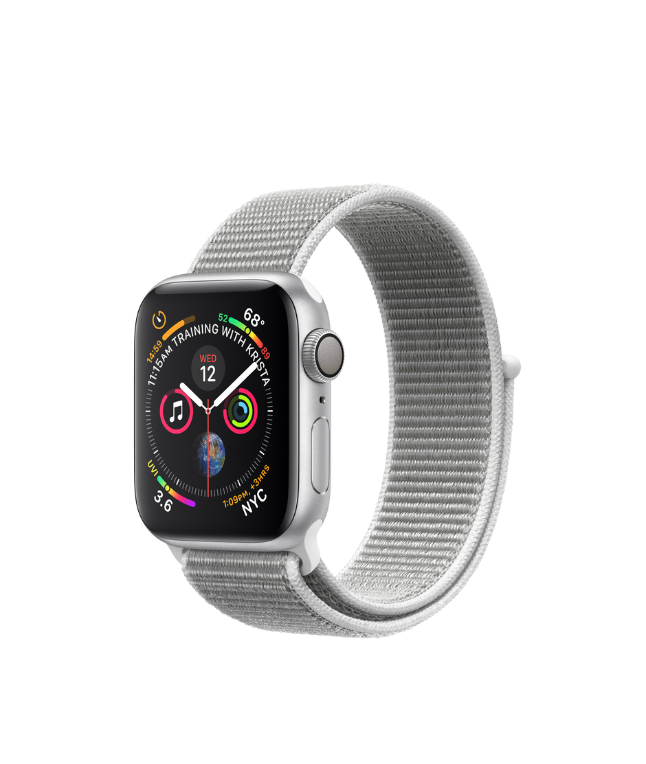 finest selection 76e1a fcad7 Apple Watch Series 4 GPS, 40mm Silver Aluminum Case with Seashell Sport Loop