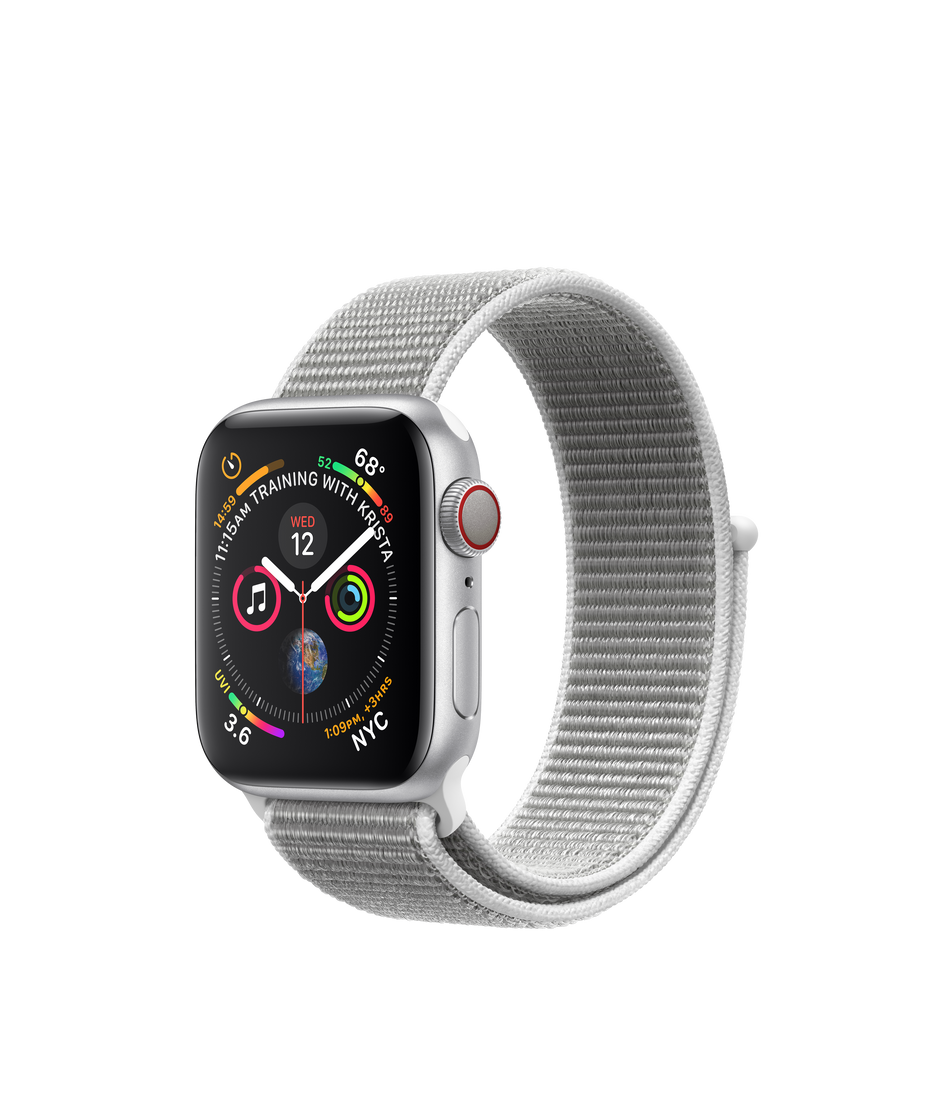 the best attitude 613fe b7f55 Apple Watch Series 4 GPS + Cellular, 40mm Silver Aluminum Case with  Seashell Sport Loop