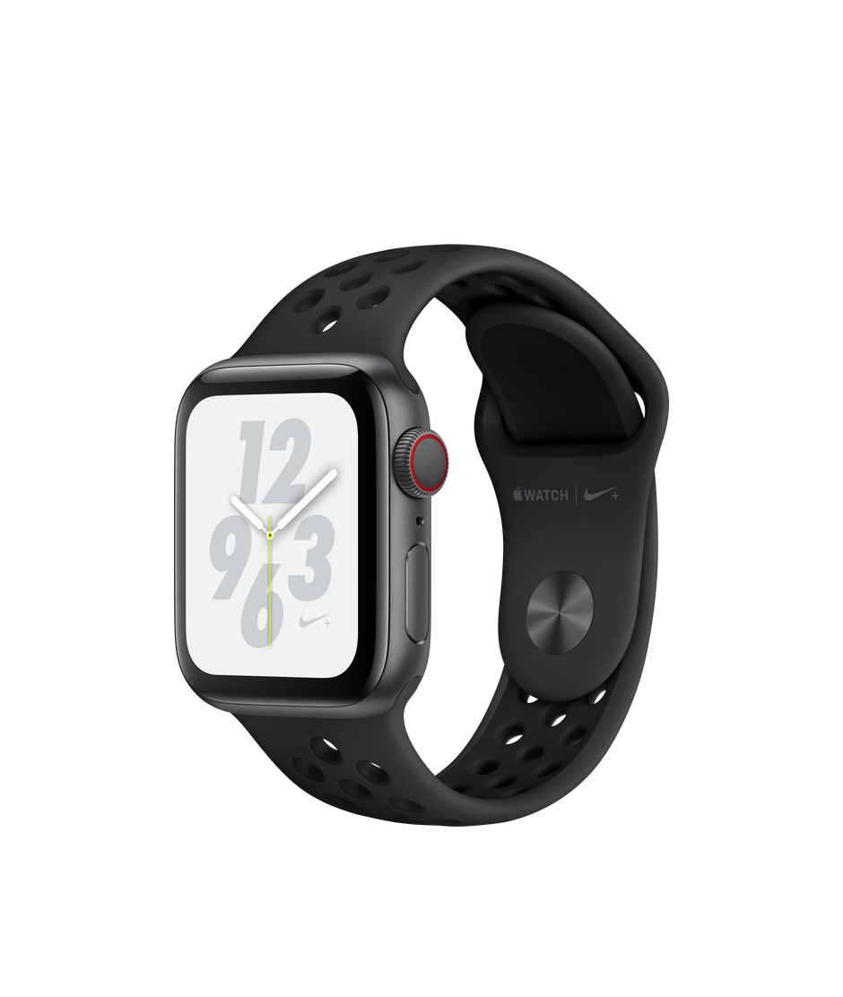 promo code 142c8 49467 Apple Watch Nike+ Series 4 GPS + Cellular, 40mm Space Gray Aluminum Case  with Anthracite/Black Nike Sport Band