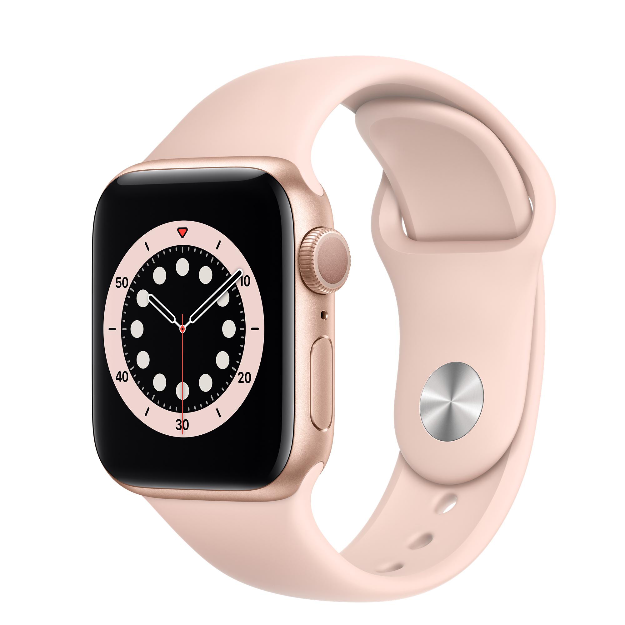 ساعة ابل الاصدار 6 بمقاس 40 ملم بهيكل المنيوم ذهبي اللون وسوار رياضي بلون زهري مزودة بنظام تحديد المواقع، موديل عادي