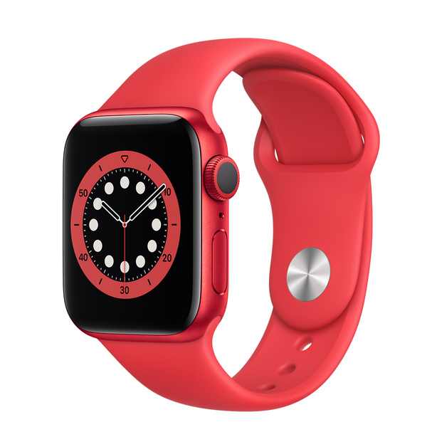 Apple Watch Series 6 GPS • Caixa (PRODUCT)RED™‎ de alumínio – 40 mm • Pulseira esportiva (PRODUCT)RED™‎ – Padrão
