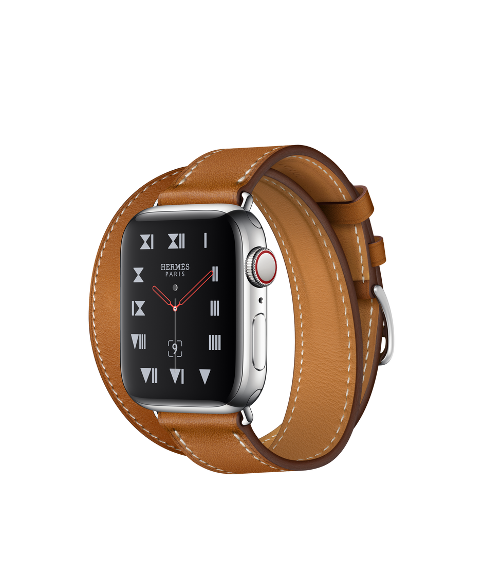 7fe8547be Apple Watch Hermès Stainless Steel Case with Fauve Barenia Leather Double  Tour