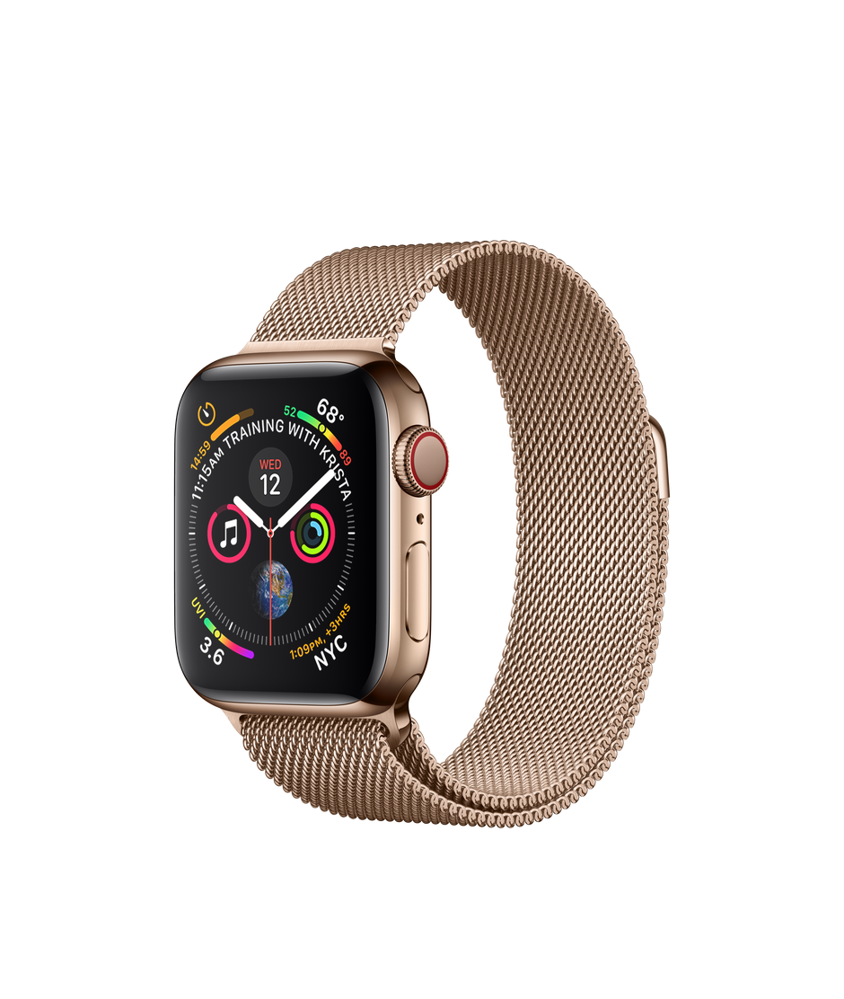 detailing bd48a 20c04 Apple Watch Series 4 GPS + Cellular, 40mm Gold Stainless Steel Case with  Gold Milanese Loop