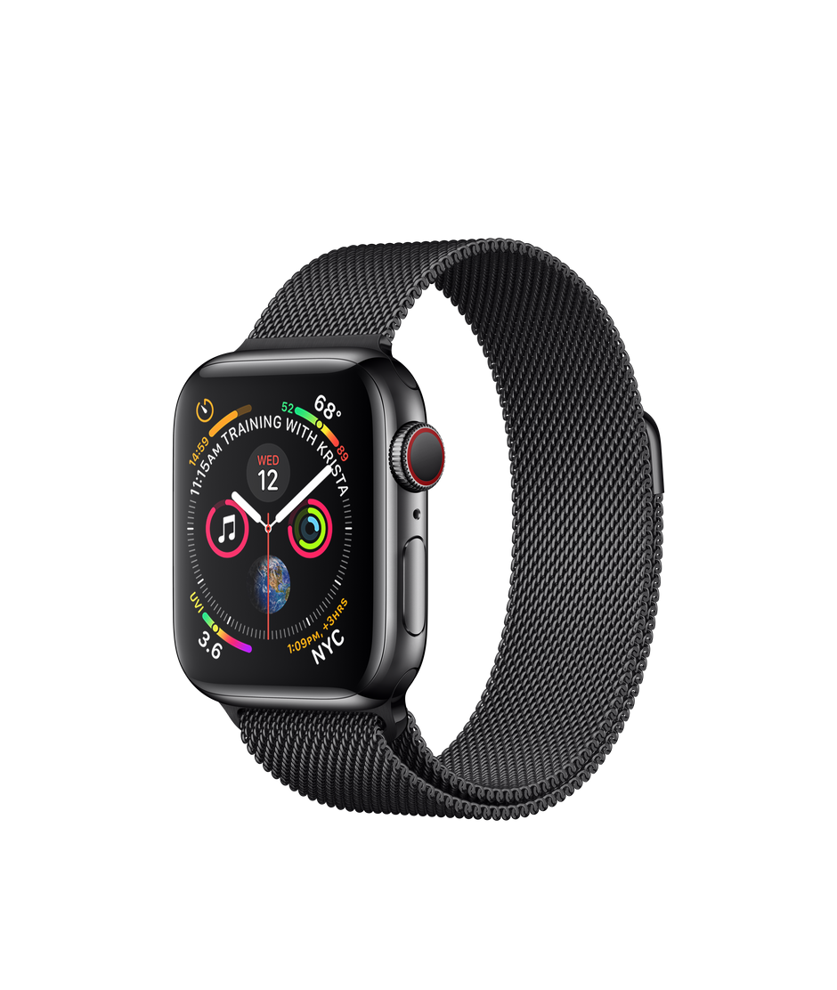 detailed look 527e2 b40be Apple Watch Series 4 GPS + Cellular, 40mm Space Black Stainless Steel Case  with Space Black Milanese Loop