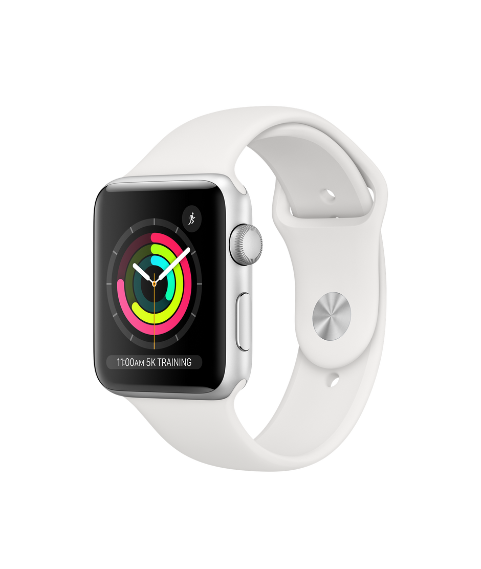 Apple Watch Series 3 GPS, 42mm Silver Aluminum Case with White