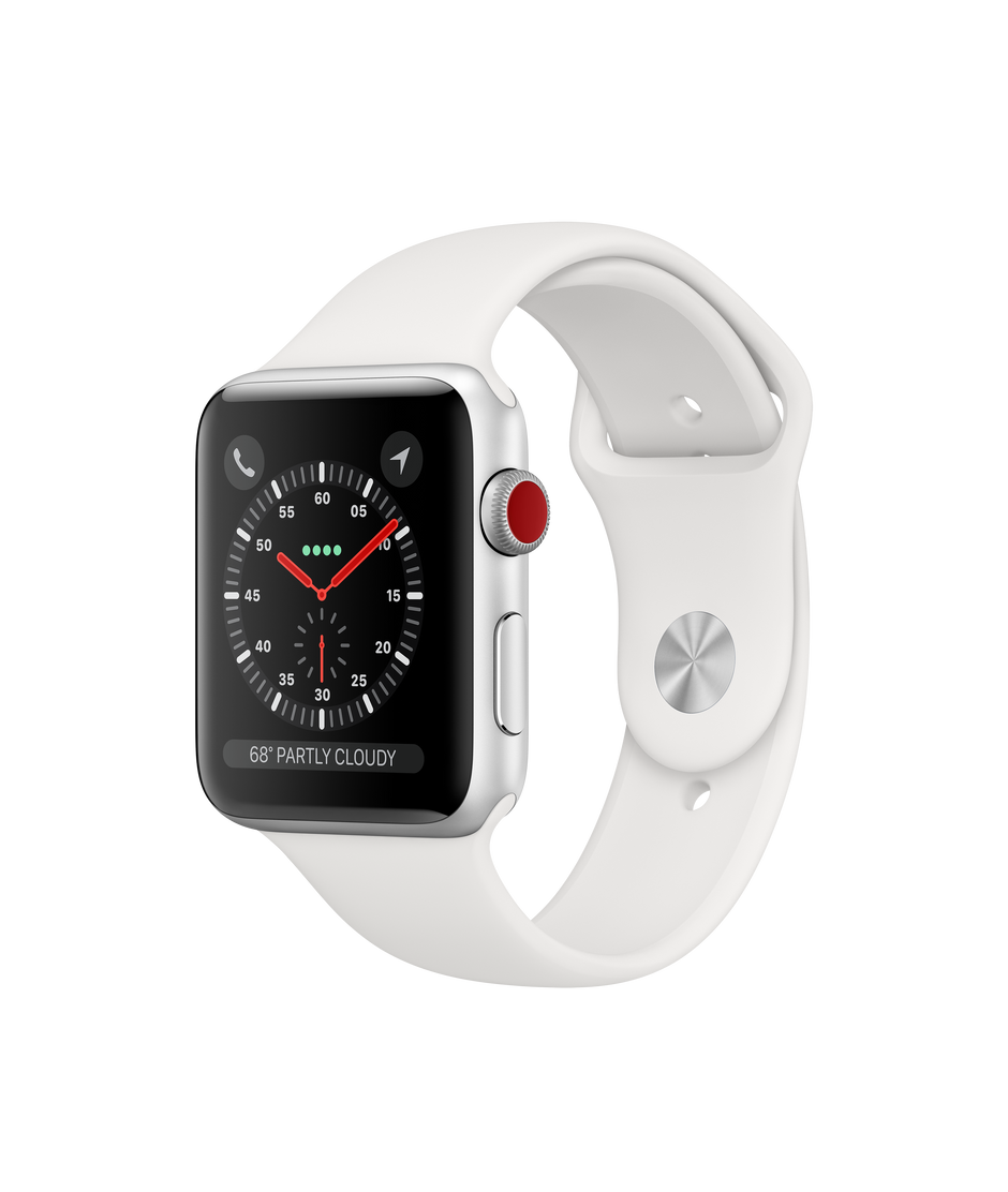 100% authentic 3e39d 30a9f Apple Watch Series 3 GPS + Cellular, 42mm Silver Aluminum Case with White  Sport Band