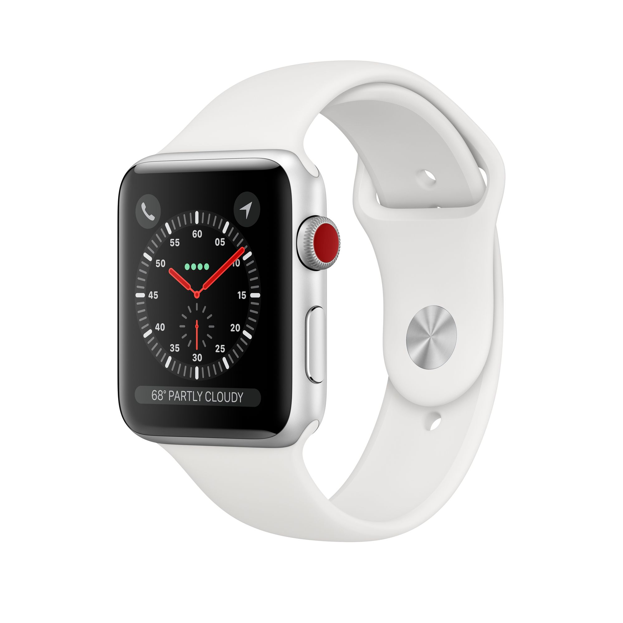Apple Watch Series 3 GPS + Cellular, 38mm Silver Aluminum Case with White  Sport Band - Apple