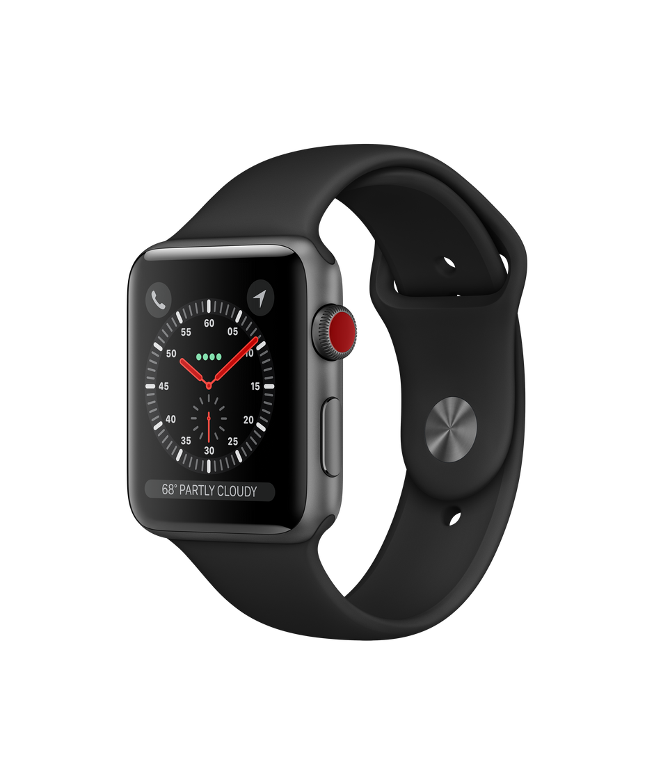 release date: 686bb 73184 Apple Watch Series 3 GPS + Cellular, 42mm Space Gray Aluminum Case with  Black Sport Band