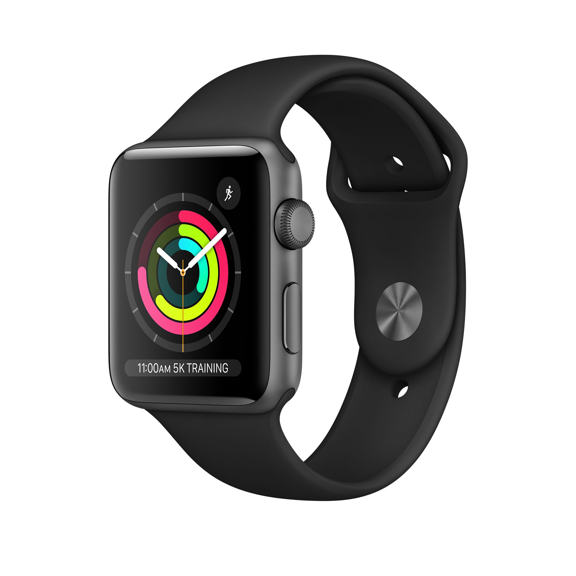 new styles e05b1 a5fbe Apple Watch Series 3 GPS, 38mm Space Gray Aluminum Case with Black Sport  Band