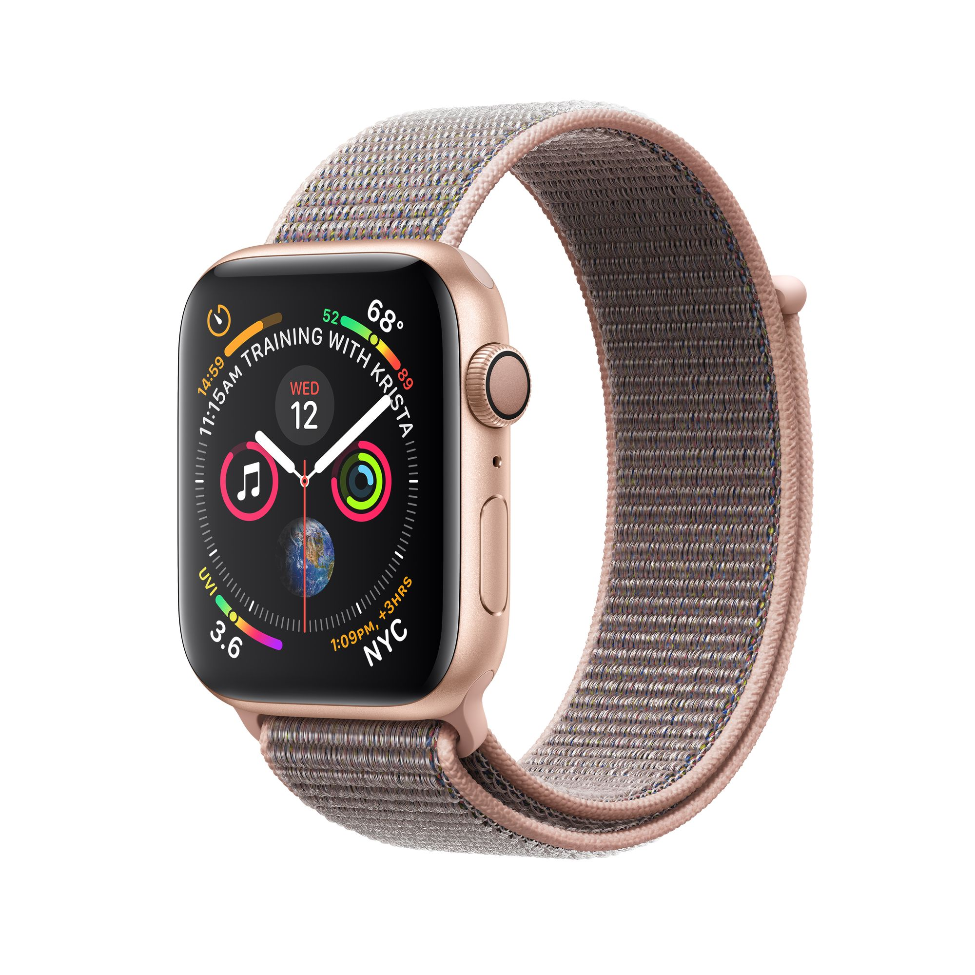 info for a18ce d38c4 Apple Watch Series 4 GPS, 40mm Gold Aluminum Case with Pink Sand Sport Loop