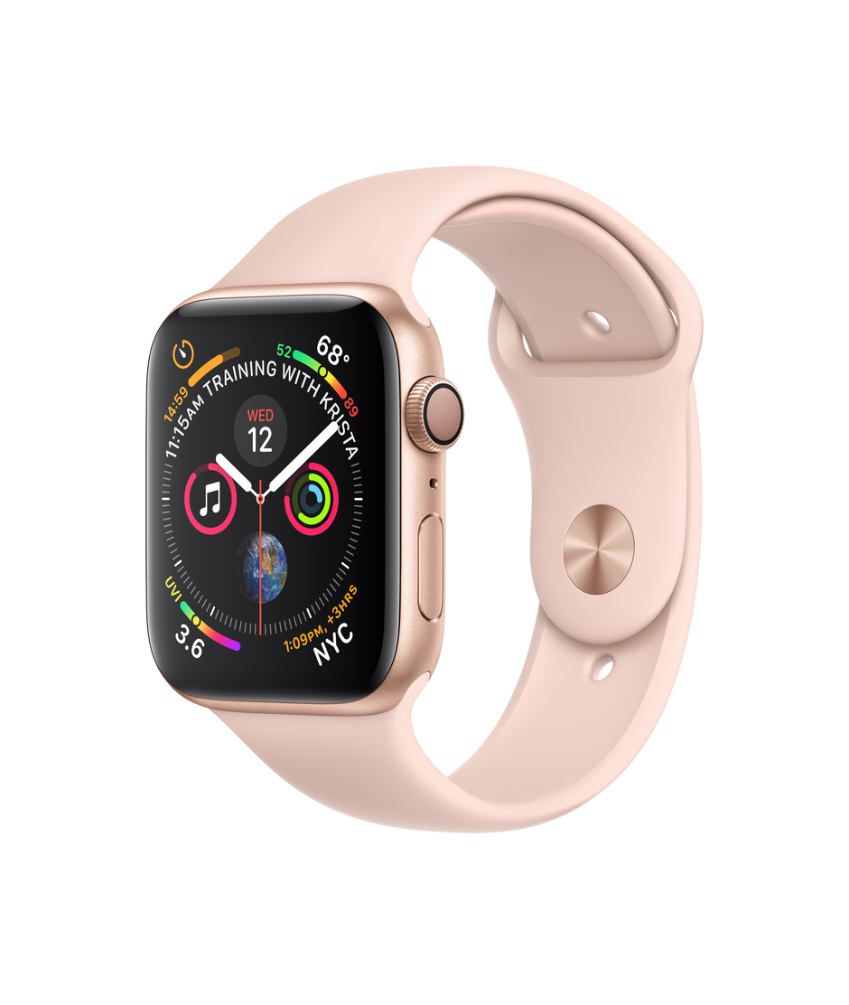 newest 96bc6 98fe5 Apple Watch Series 4 GPS, 44mm Gold Aluminum Case with Pink Sand Sport Band