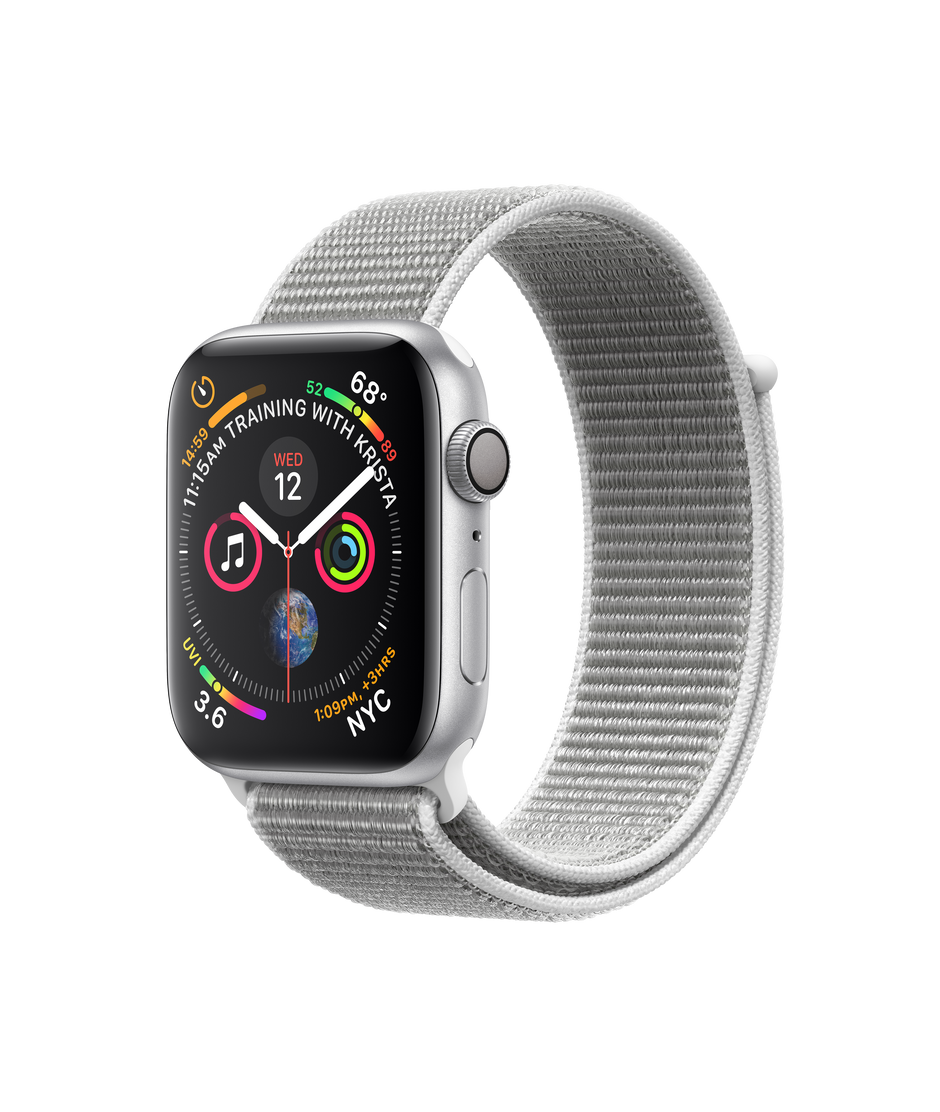 sports shoes 3b3f8 aaa63 Apple Watch Series 4 GPS, 44mm Silver Aluminum Case with Seashell Sport Loop