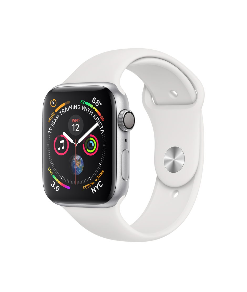 san francisco 08010 39c56 Apple Watch Series 4 GPS, 44mm Silver Aluminum Case with White Sport Band