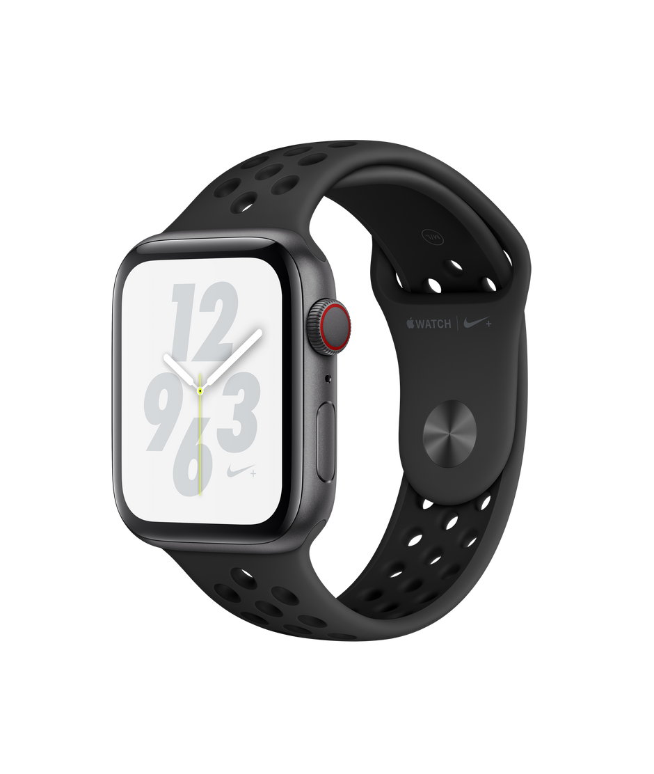 Apple Watch Nike+ Series 4 GPS + Cellular, 44mm Space Gray Aluminum Case with Anthracite/Black Nike Sport Band