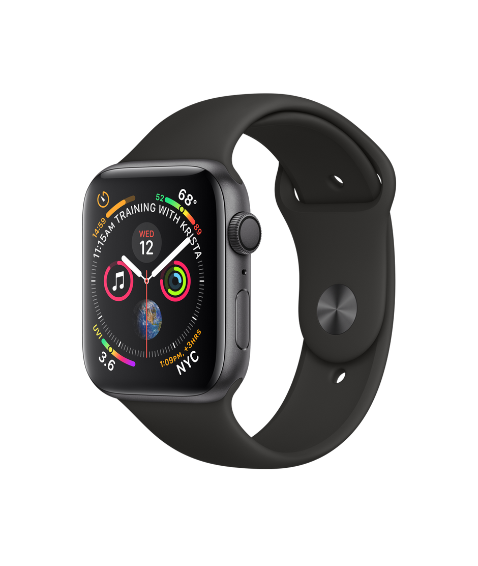 online store 2fc65 402dc Apple Watch Series 4 GPS, 44mm Space Gray Aluminum Case with Black Sport  Band