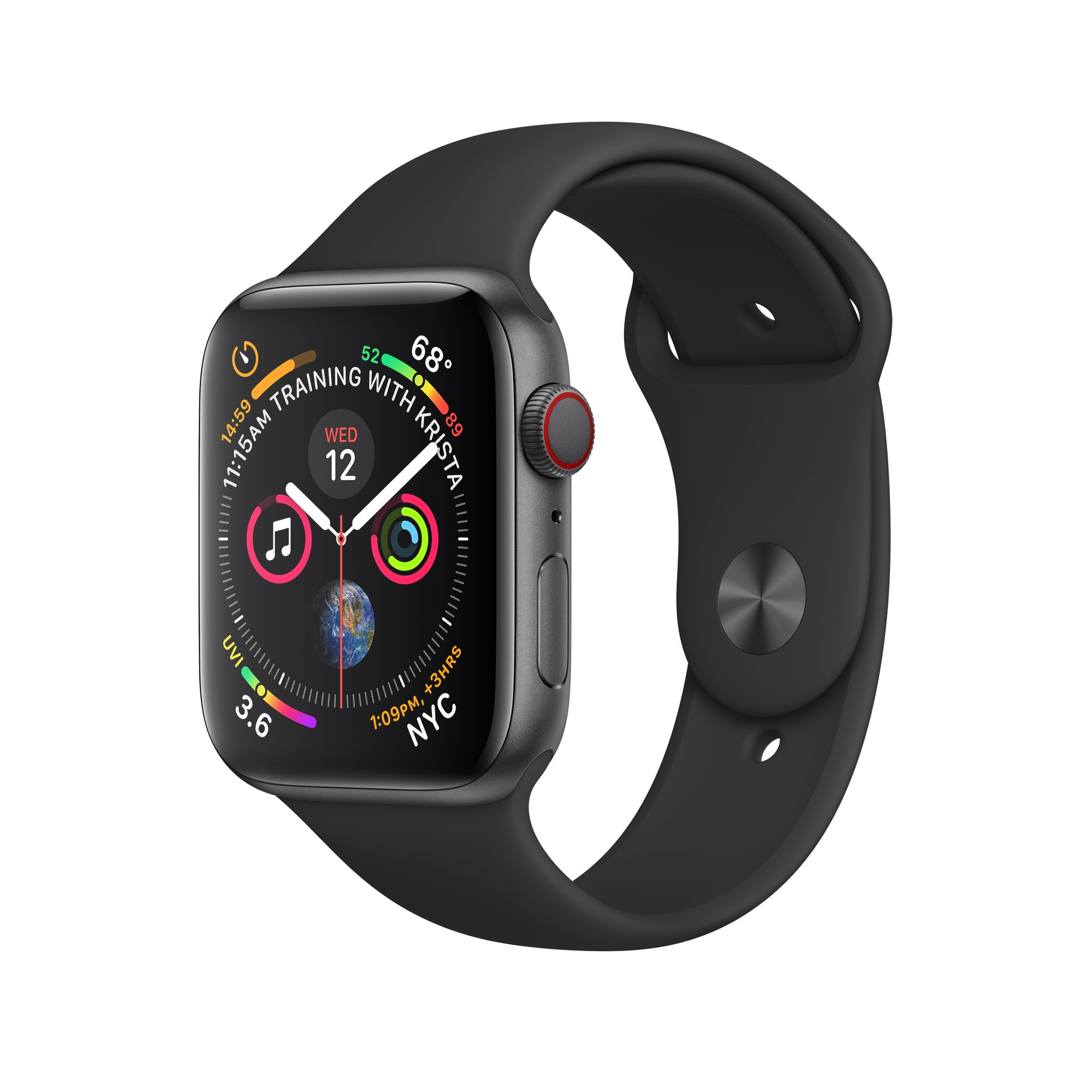 separation shoes 56be3 1be6b Apple Watch Series 4 GPS + Cellular, 40mm Space Gray Aluminum Case with  Black Sport Band