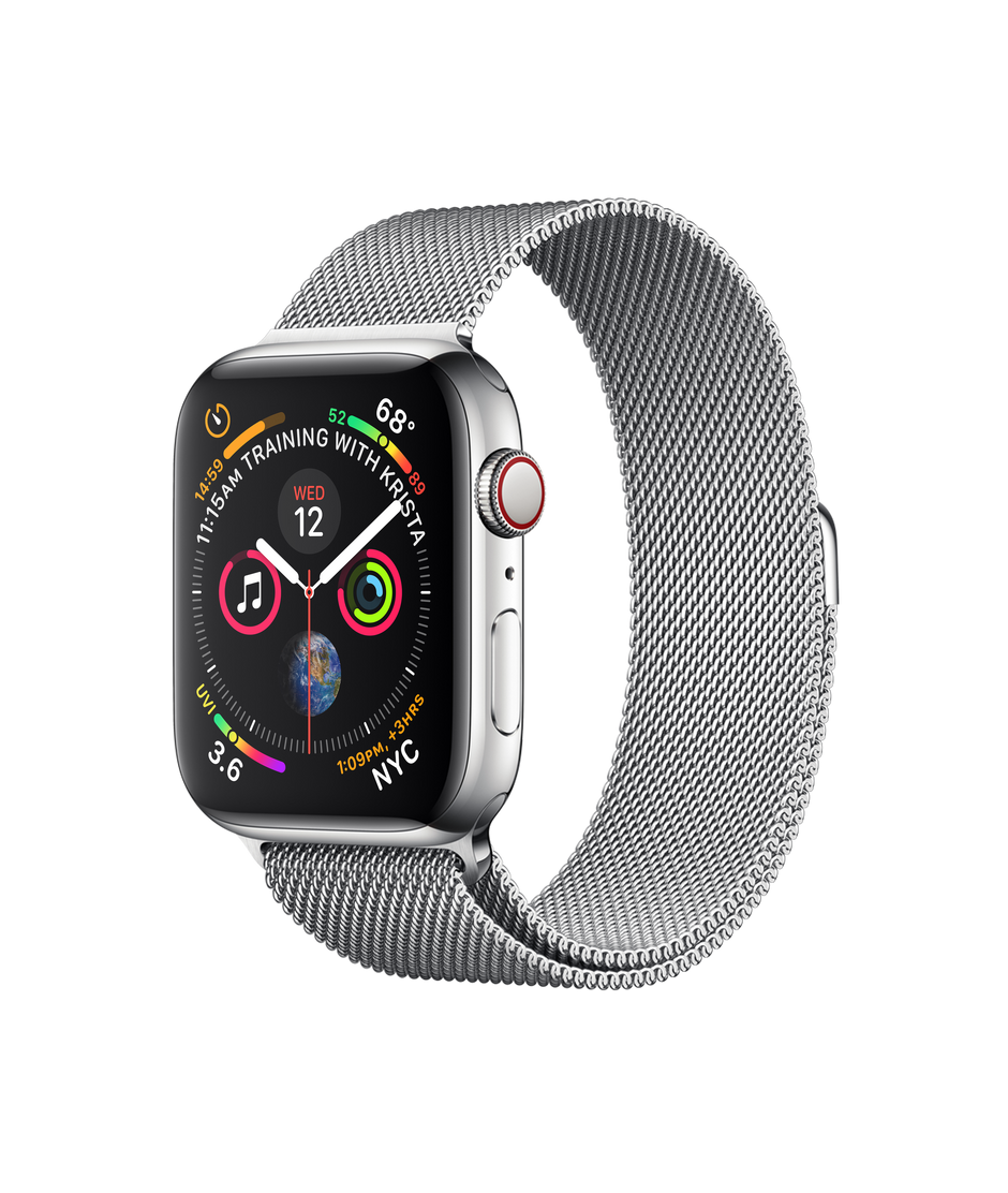 online store 6f869 fe406 Apple Watch Series 4 GPS + Cellular, 44mm Stainless Steel Case with  Milanese Loop